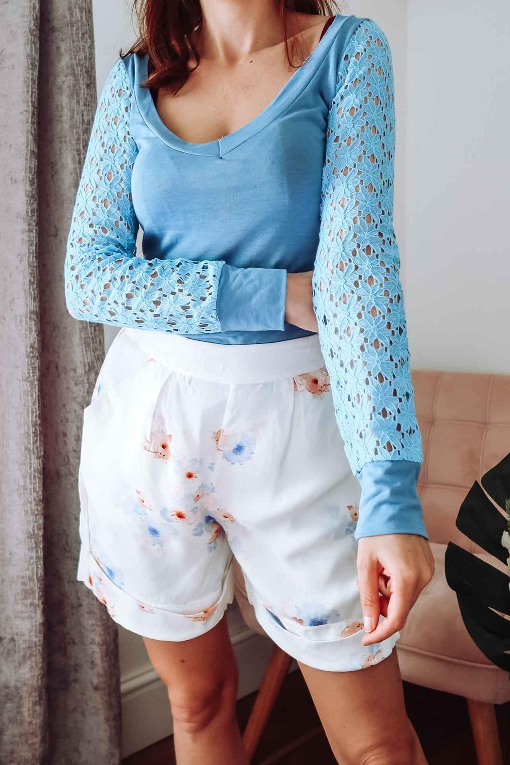 Sophie Cameron Davies Blue Lace Sleeve Top - Main Image