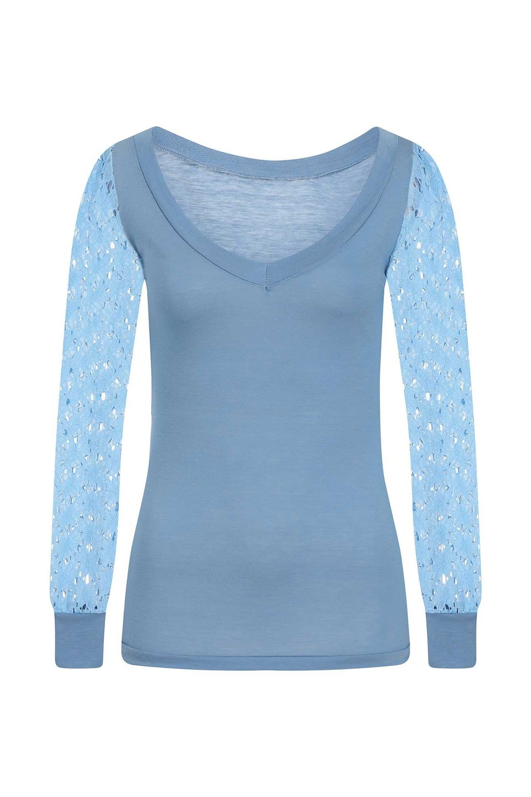 Sophie Cameron Davies Blue Lace Sleeve Top - Side Cropped Image