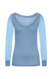 Sophie Cameron Davies Blue Lace Sleeve Top - Side cropped