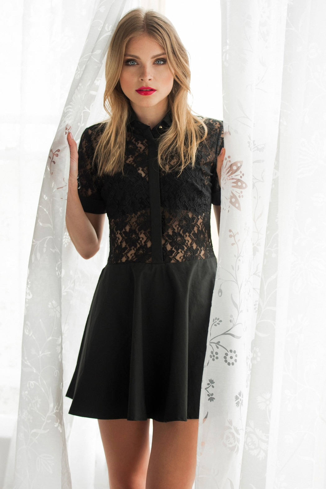 Sophie Cameron Davies Lace Mini Dress - Front Cropped Image