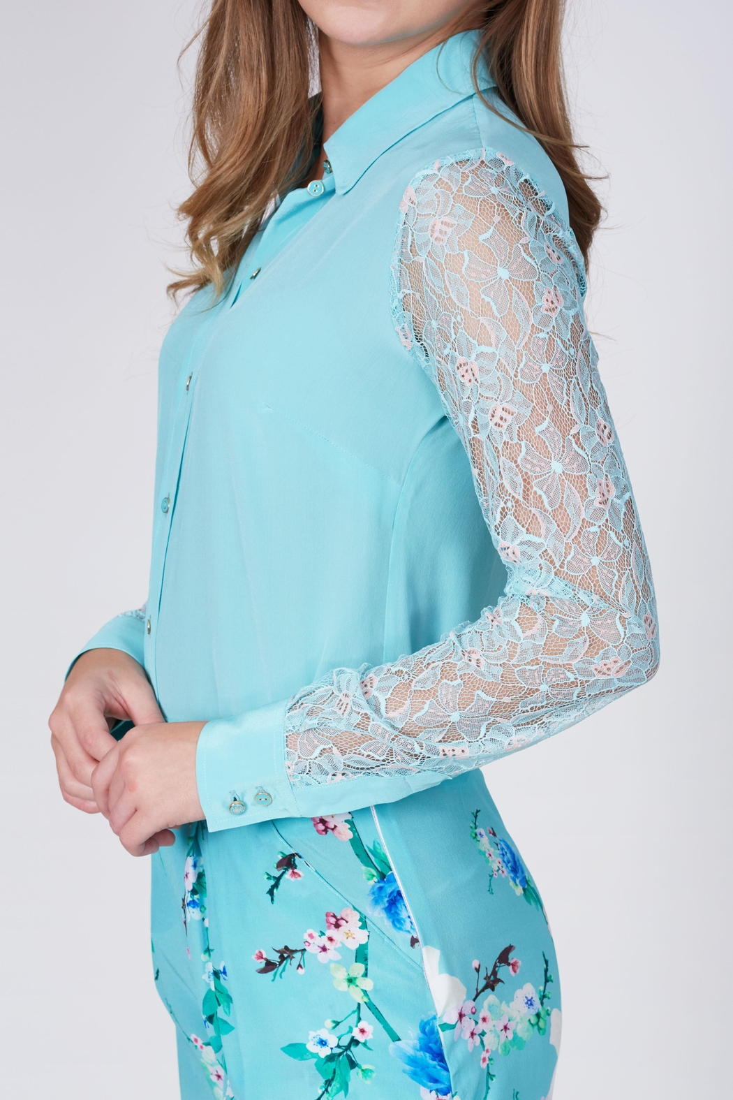 Sophie Cameron Davies Lace Silk Shirt - Front Full Image
