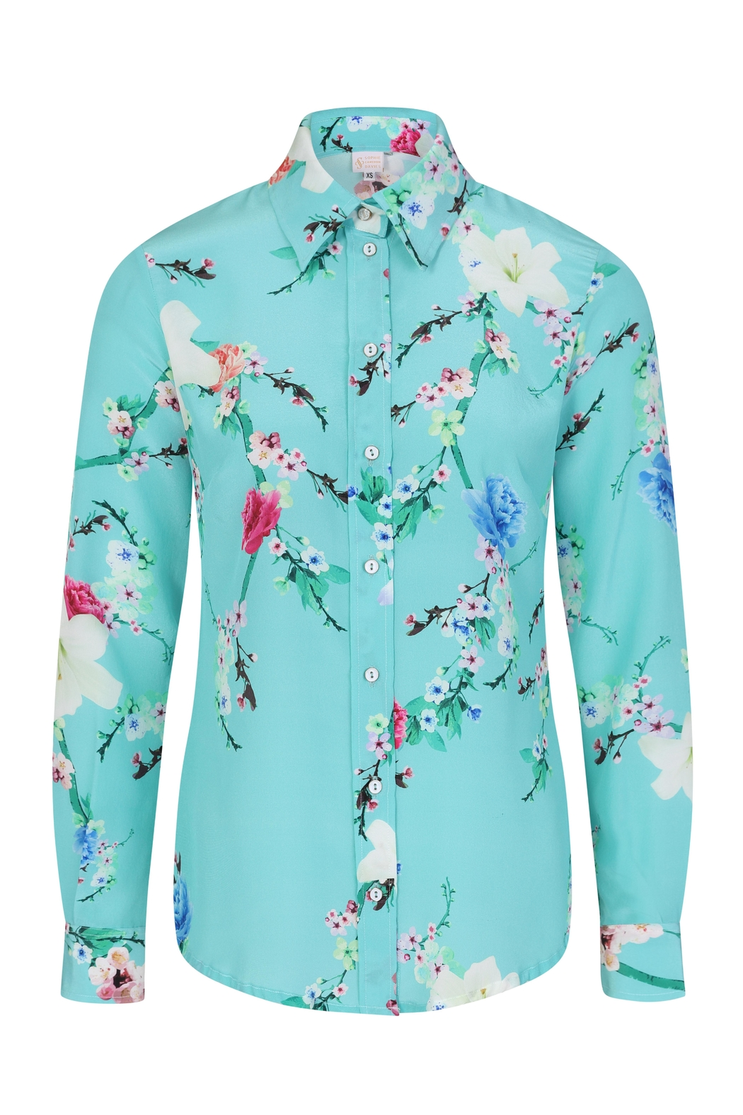 Sophie Cameron Davies Mint Silk Shirt - Side Cropped Image