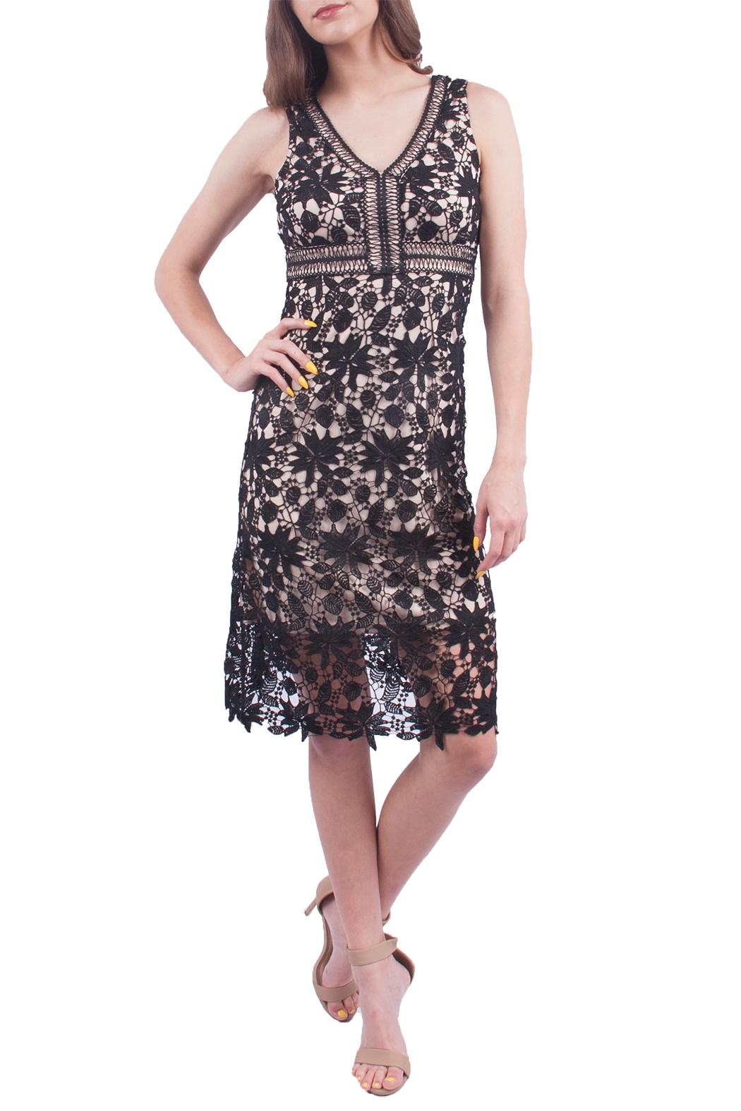 Soprano Black Crochet Midi Dress - Main Image