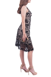 Soprano Black Crochet Midi Dress - Front full body