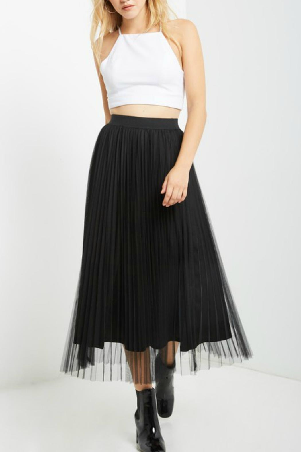 Soprano Black Tulle Midi Skirt - Front Cropped Image