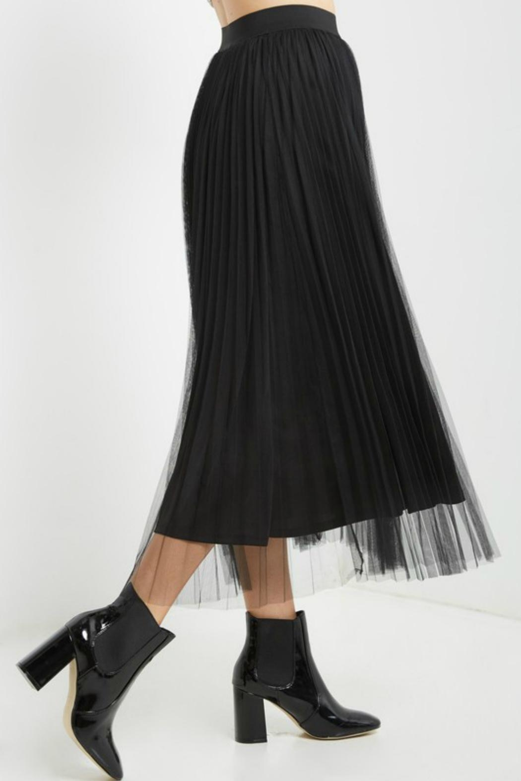 Soprano Black Tulle Midi Skirt - Side Cropped Image