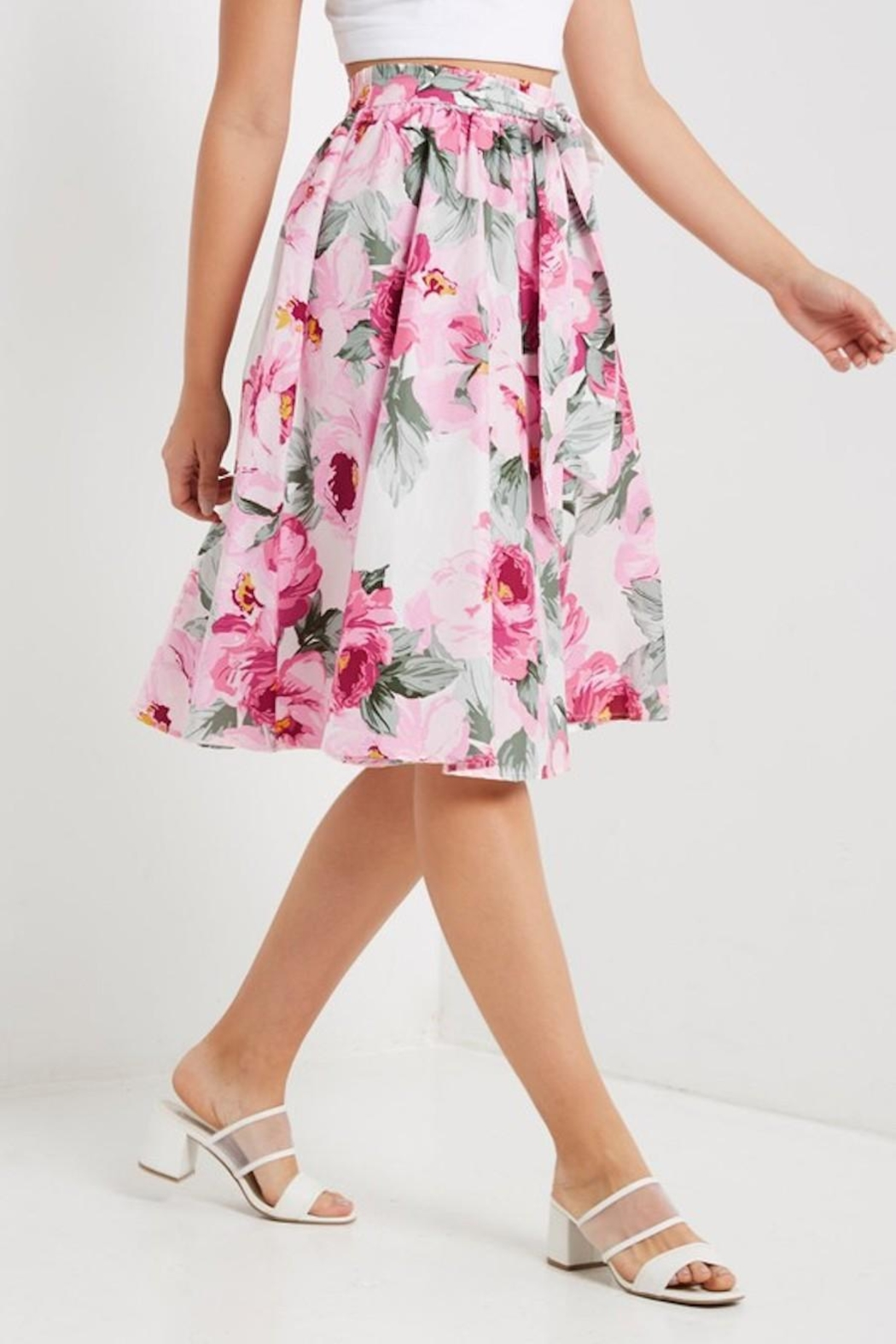 Soprano Floral Midi Skirt - Side Cropped Image