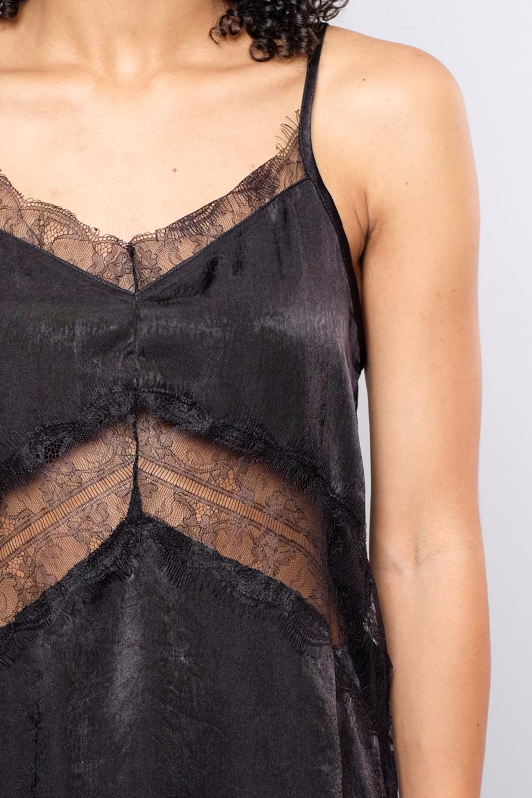 Soprano Lace Inset Satin Cami - Back Cropped Image