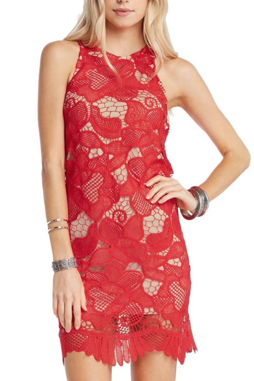Soprano Red Lace Overlay Dress - Front Full Image