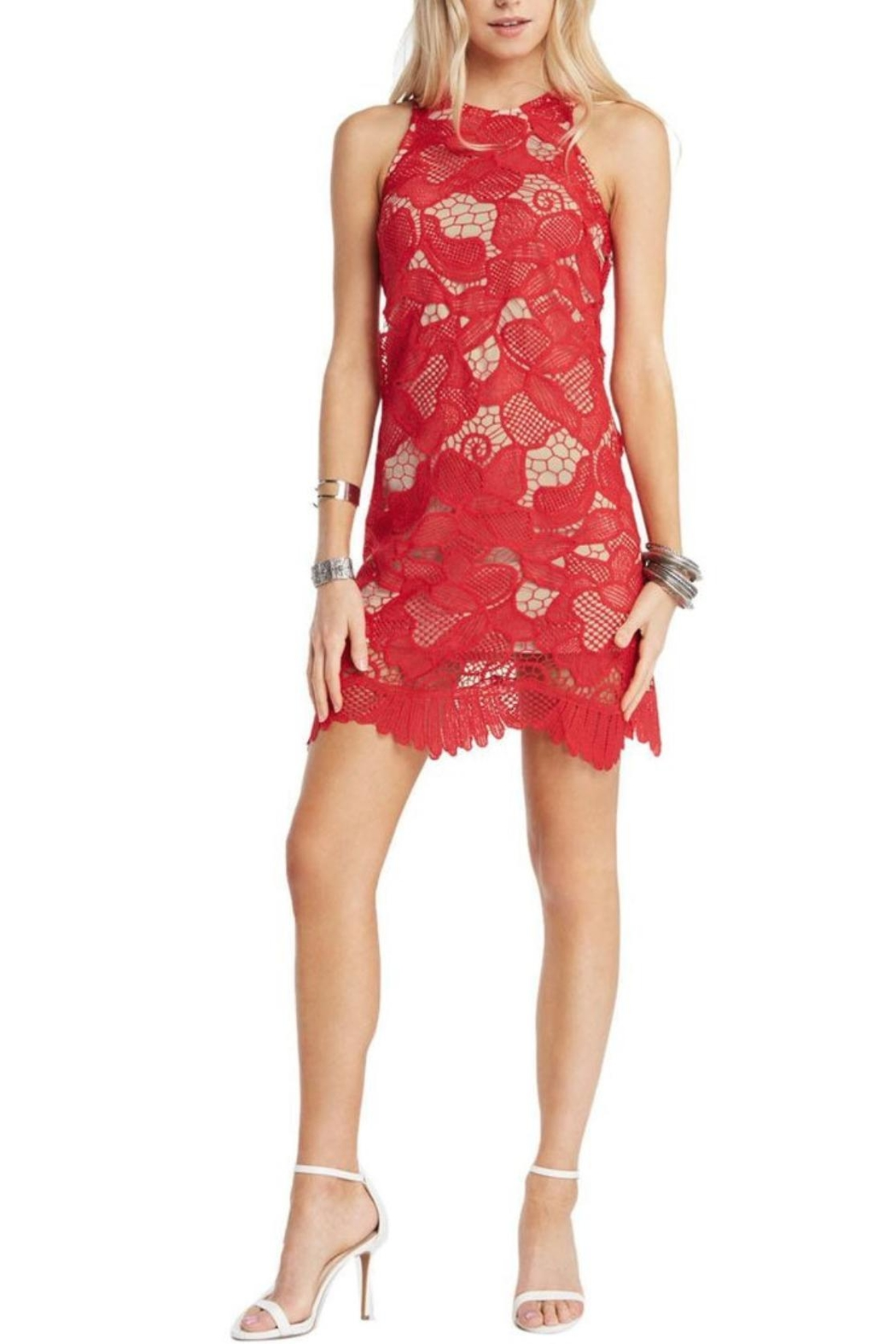 Soprano Red Lace Overlay Dress - Main Image