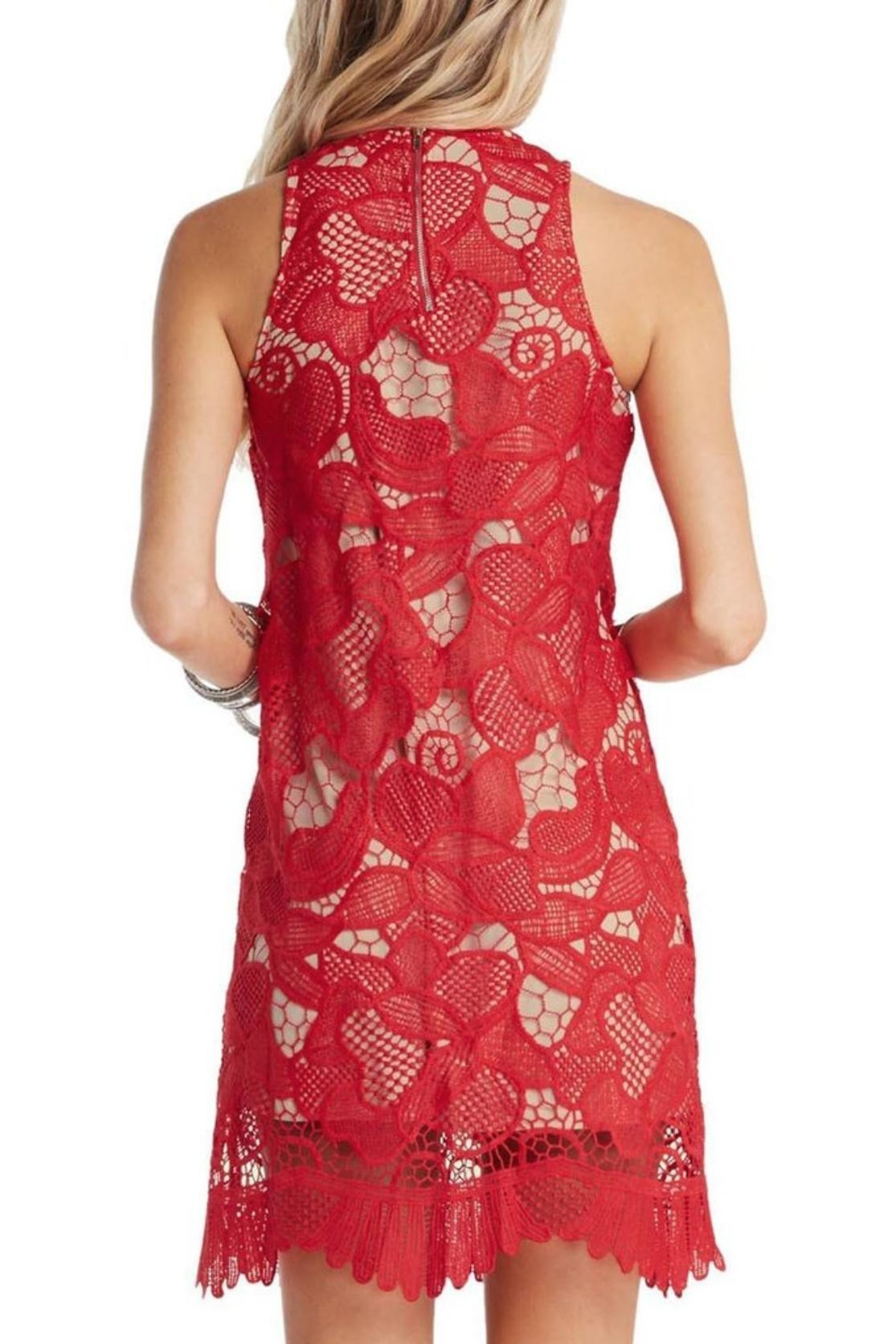 Soprano Red Lace Overlay Dress - Side Cropped Image