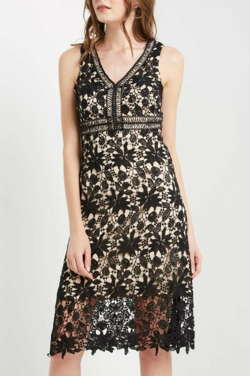Soprano Lace Overlay Dress - Front Cropped Image