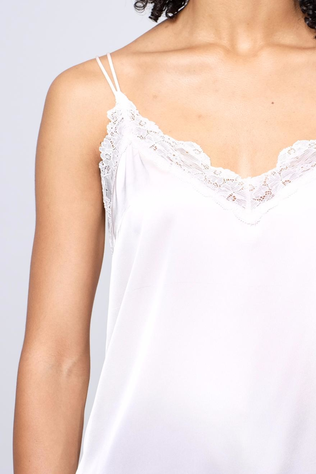 Soprano Lace Trim Satin Cami - Back Cropped Image