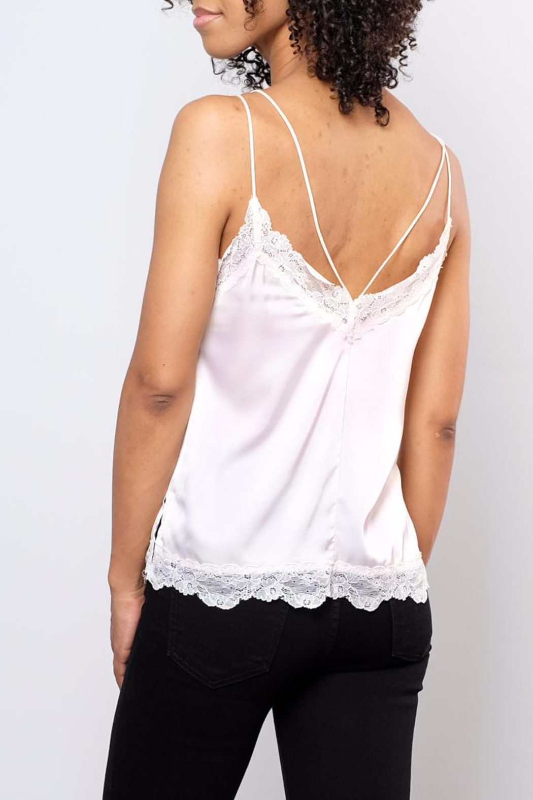 Soprano Lace Trim Satin Cami - Side Cropped Image