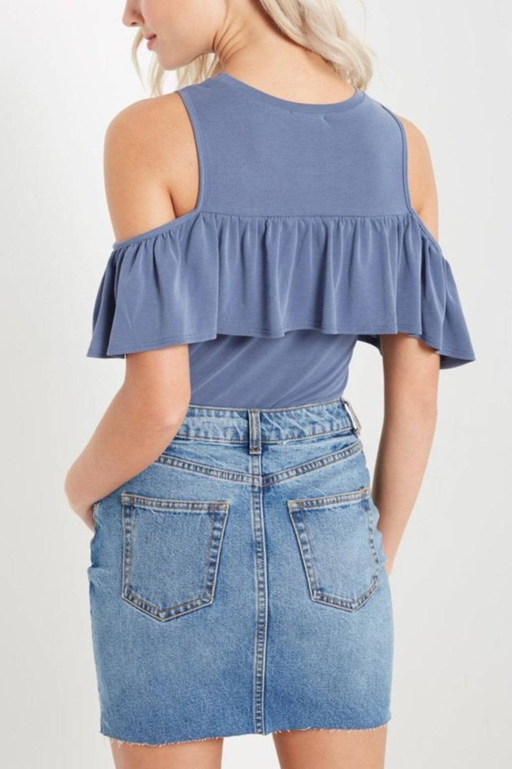 Soprano Ruffled Cold Shoulder - Front Full Image