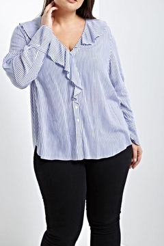 Soprano Stripe Ruffle Blouse - Product List Image