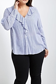 Soprano Stripe Ruffle Blouse - Product Mini Image