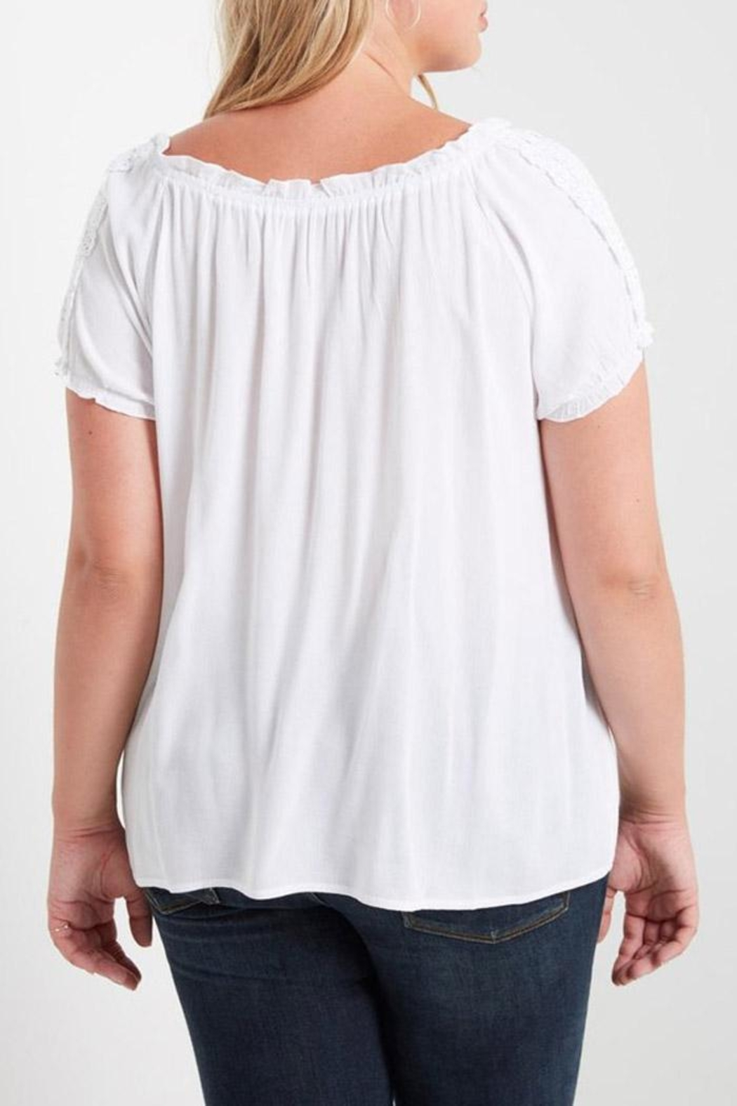 Soprano White Peasant Top - Back Cropped Image