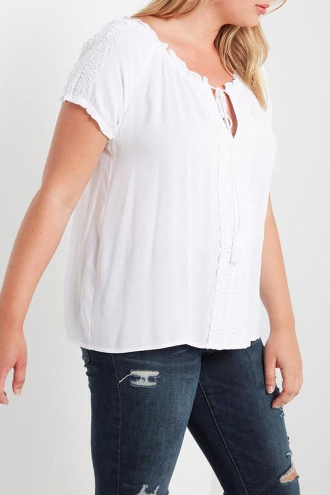 Soprano White Peasant Top - Side Cropped Image