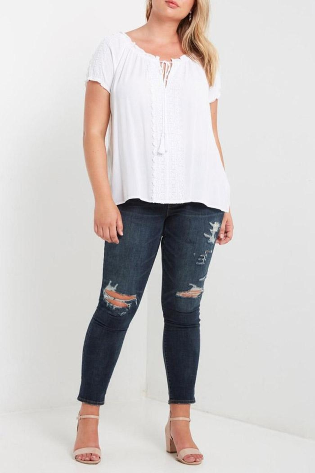 Soprano White Peasant Top - Front Full Image