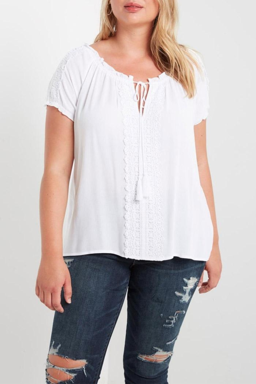 Soprano White Peasant Top - Front Cropped Image