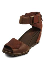 Sorel Brown Wedge Strap - Front full body