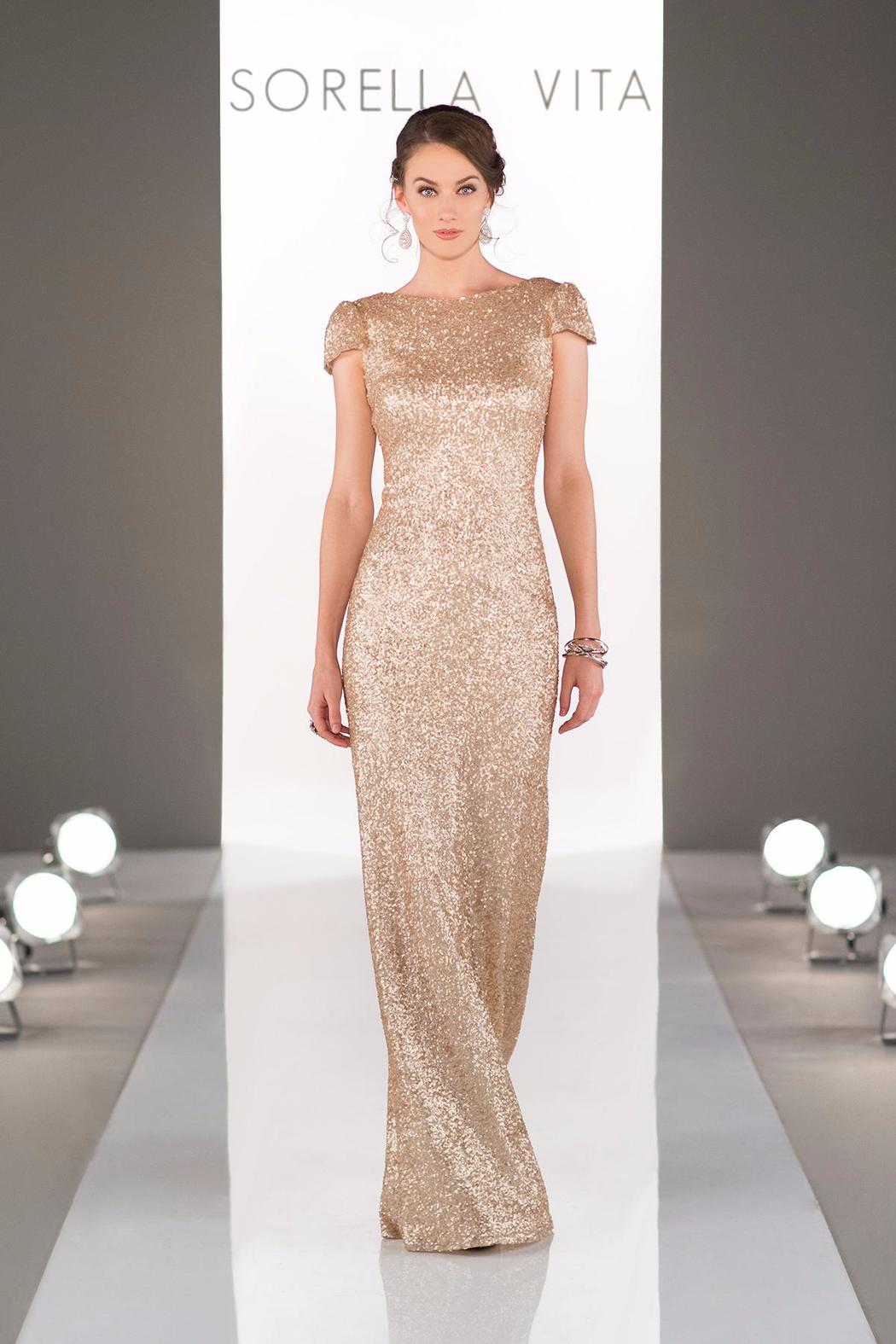 Sorella Vita Cap Sleeve Sequins Gown - Front Cropped Image