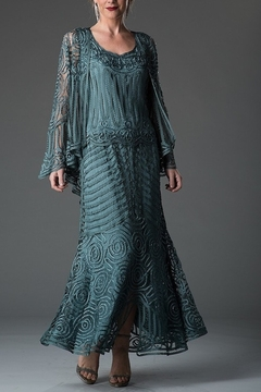 Soulmates Silk Tea Length Mother of the Bride Crochet Evening Dress D7156 - Product List Image