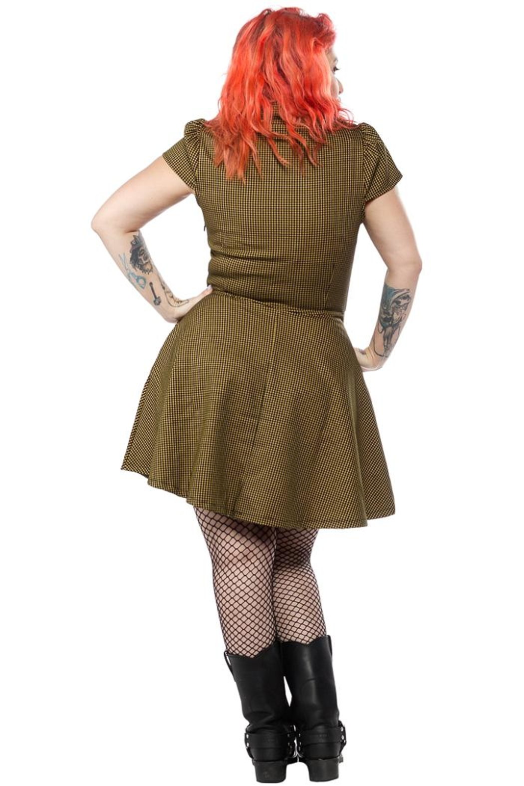 Sourpuss Check Button-Down Dress - Front Full Image