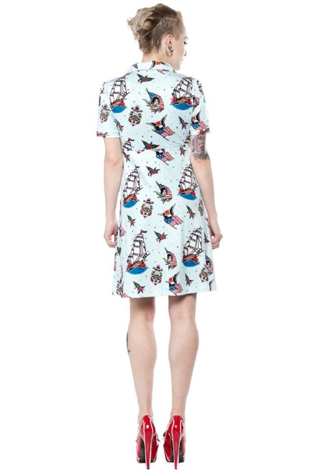 Sourpuss Rosie Sailor Dress - Side Cropped Image