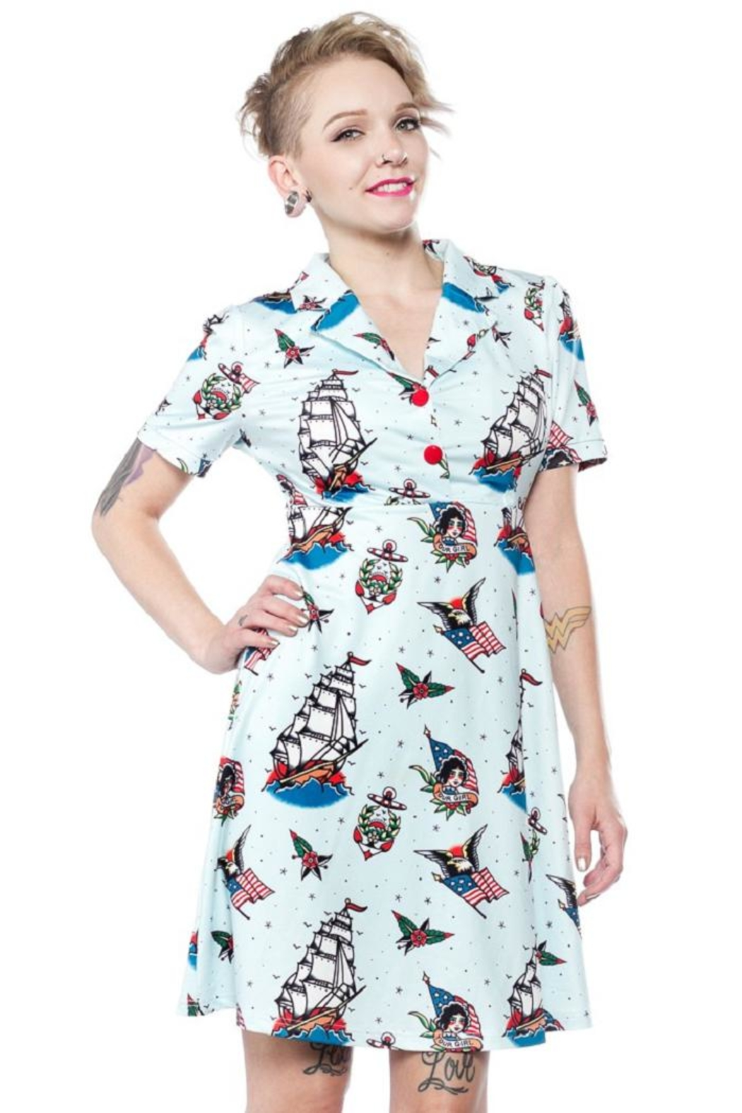 Sourpuss Rosie Sailor Dress - Front Cropped Image