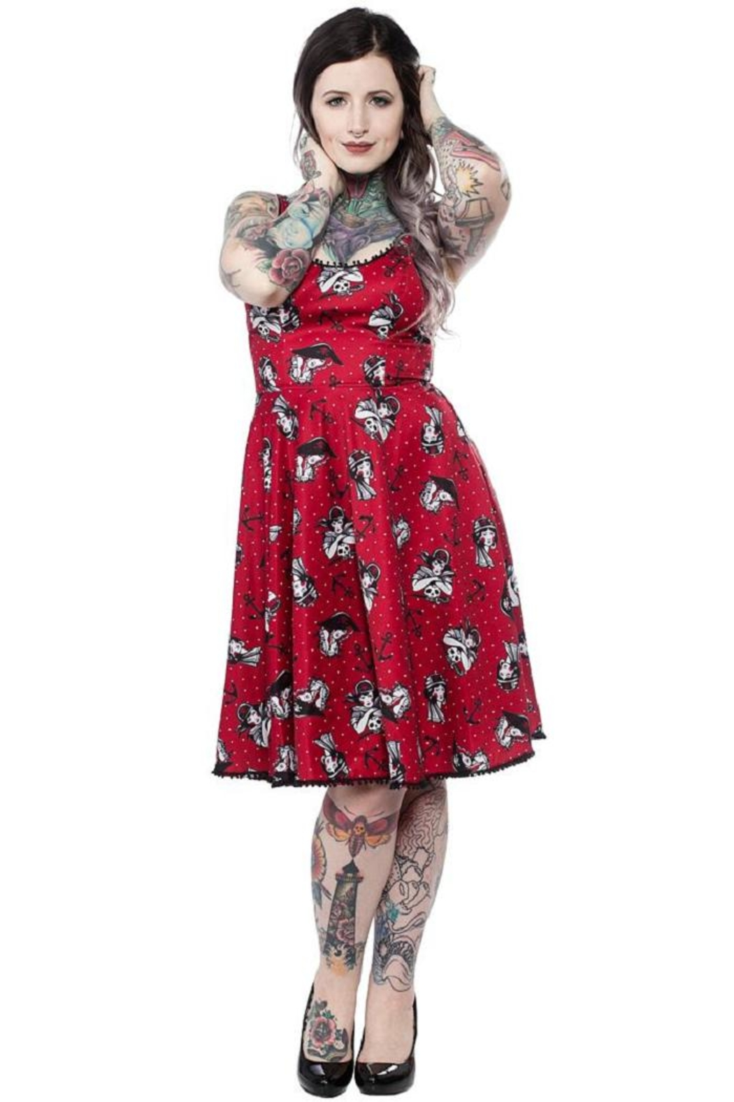 Sourpuss Swashbuckler Swing Dress - Front Cropped Image