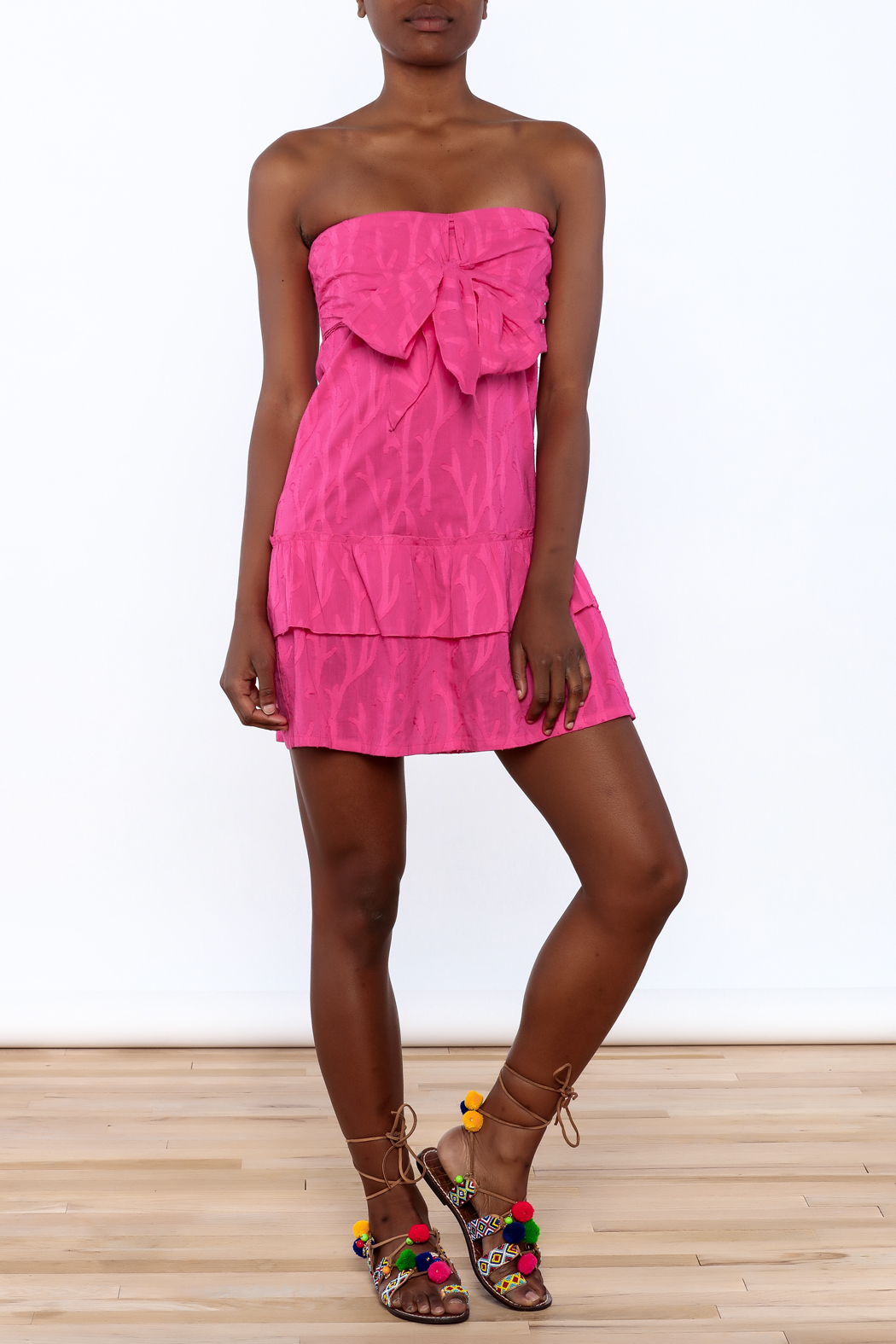 Southern Frock Pink Positano Dress - Front Full Image