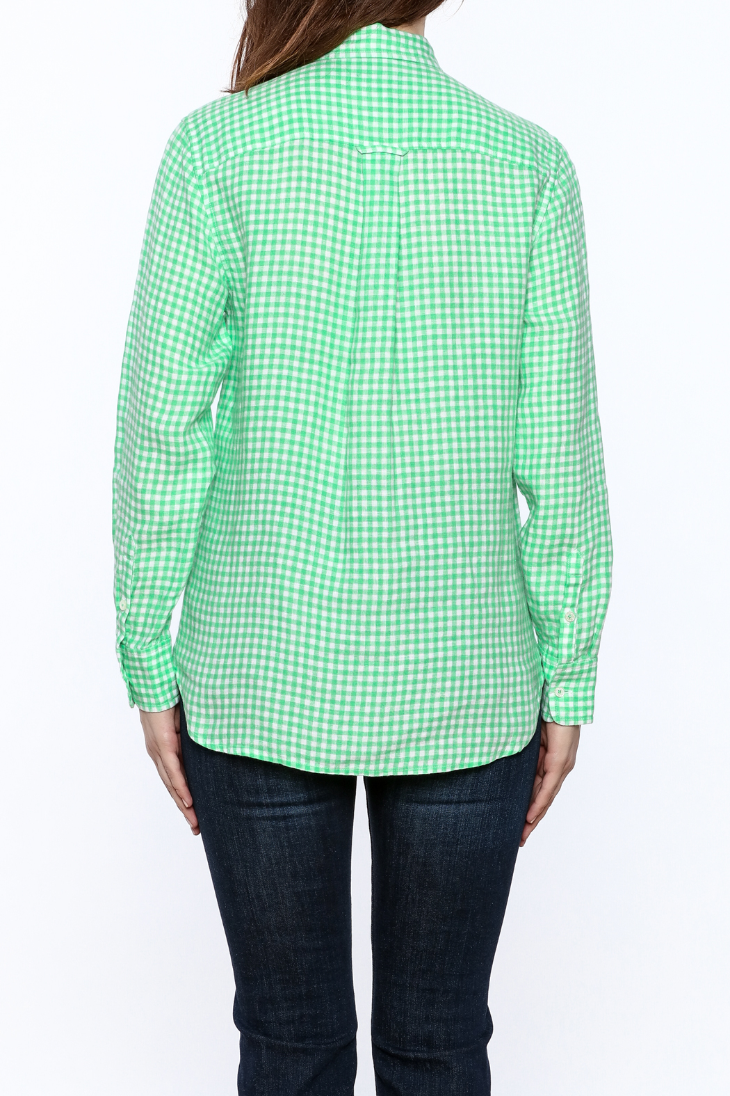 Southern Tide Gingham Button-Down Top - Back Cropped Image