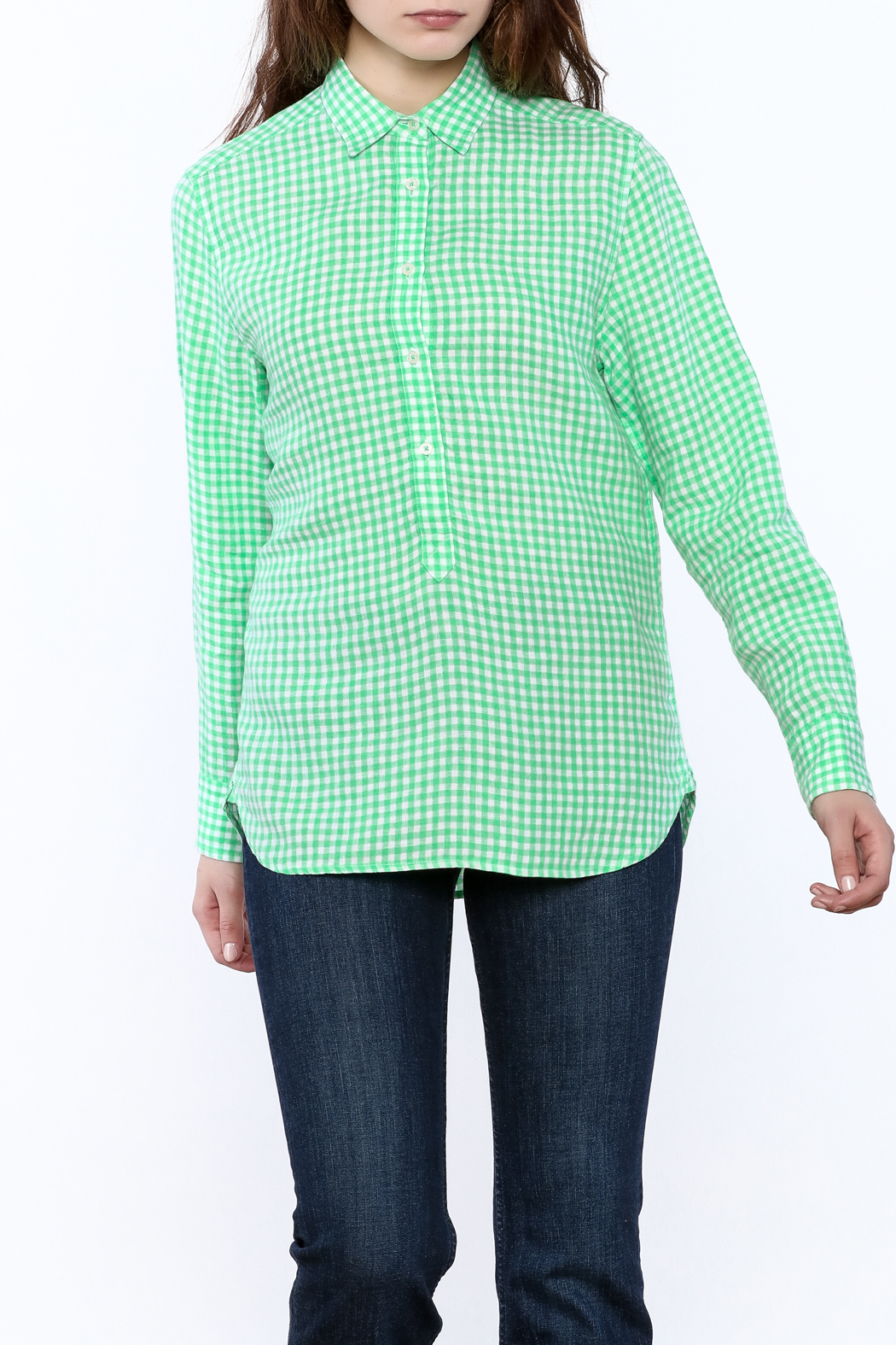 Southern Tide Gingham Button-Down Top - Front Cropped Image