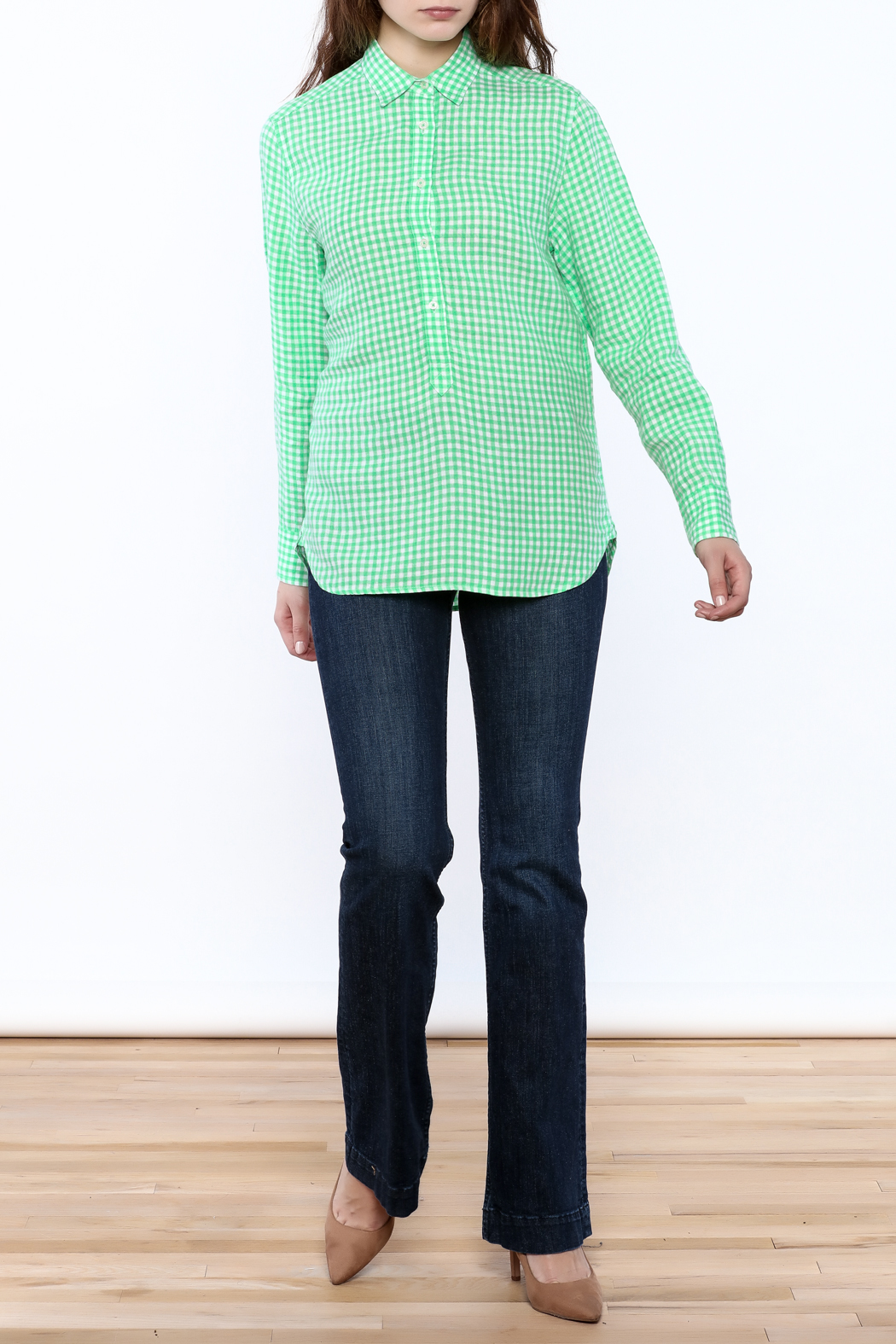 Southern Tide Gingham Button-Down Top - Front Full Image