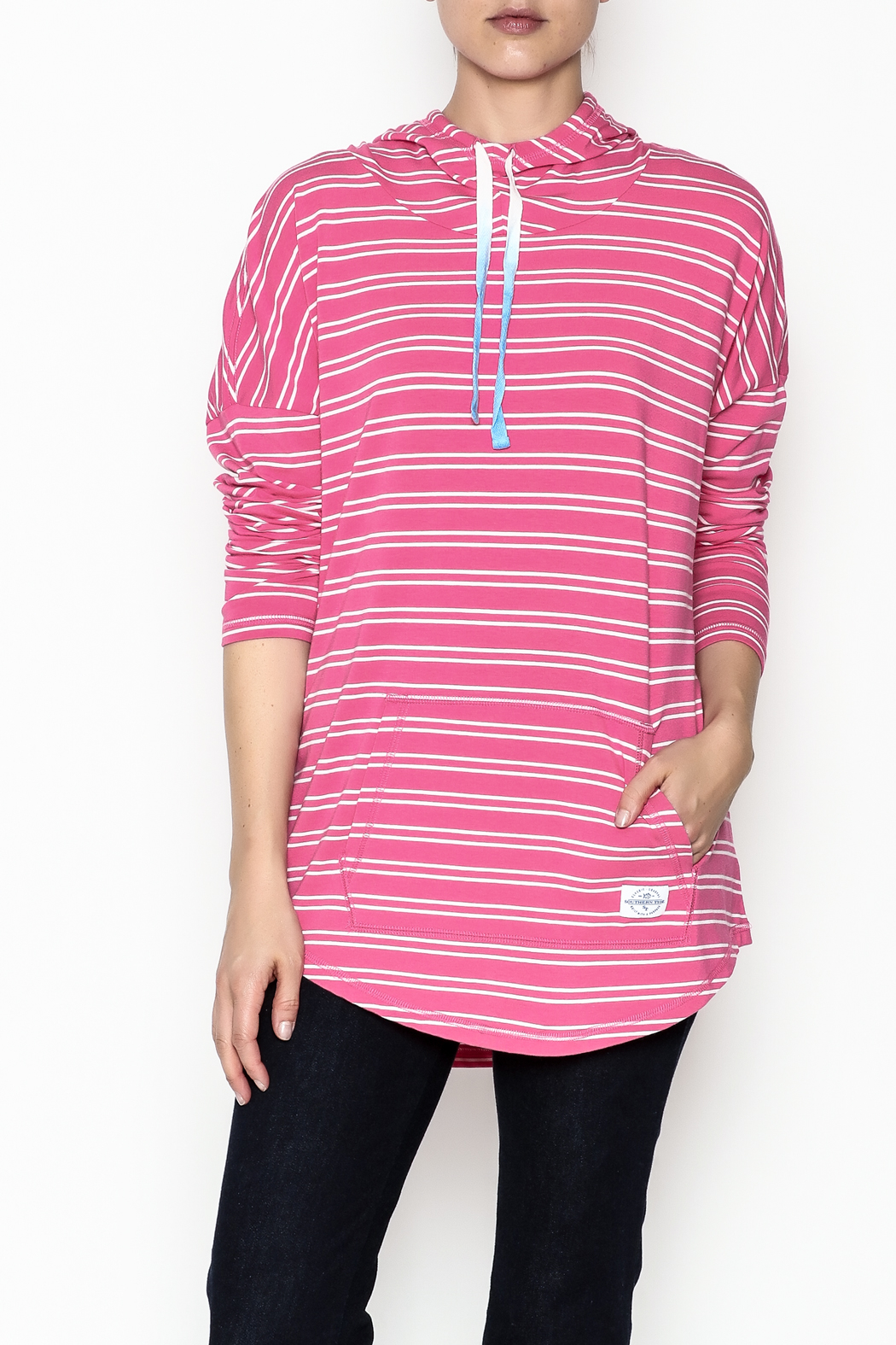 Southern Tide Skipper Pink Stripe Hoodie - Front Cropped Image