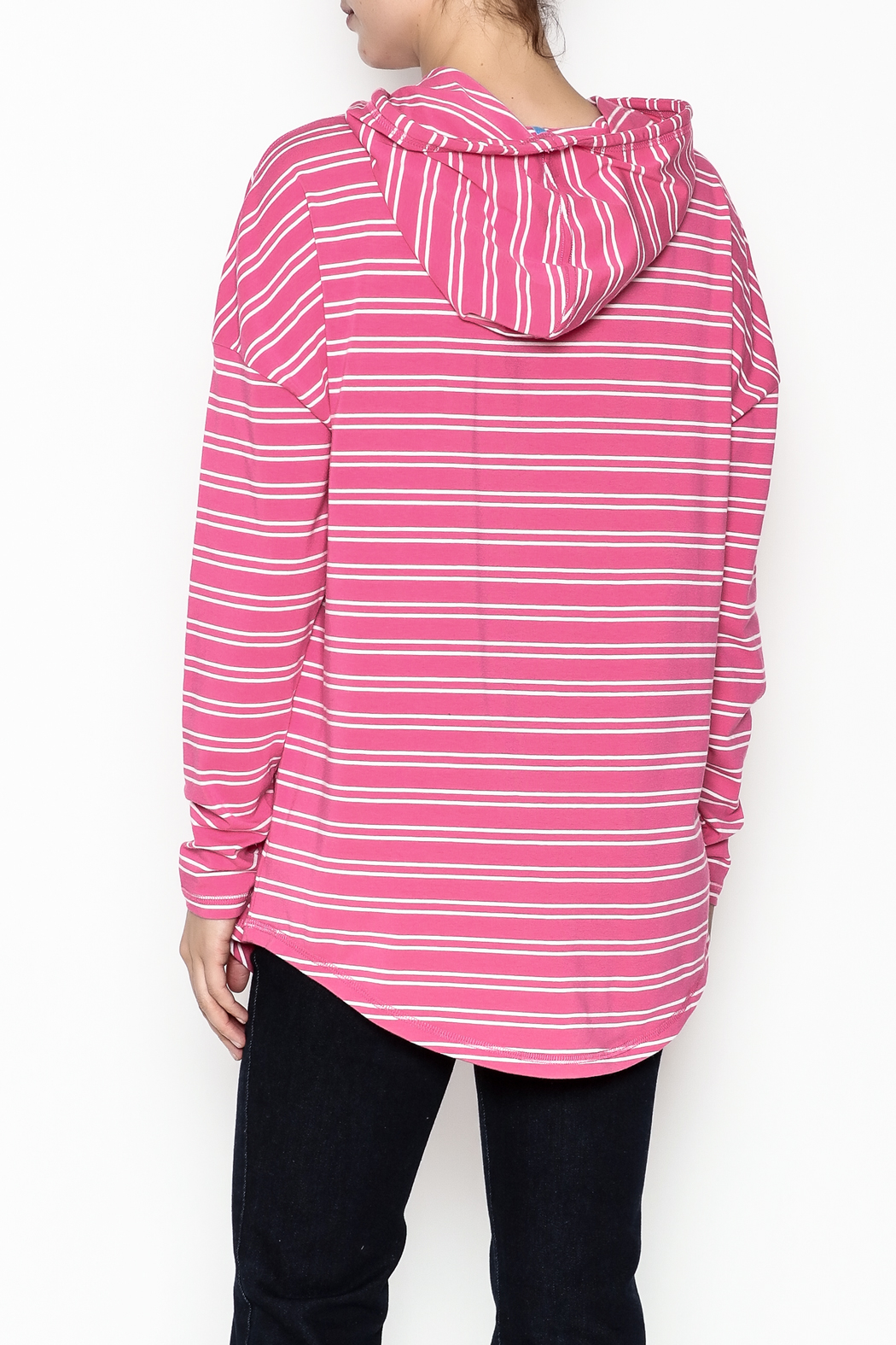 Southern Tide Skipper Pink Stripe Hoodie - Back Cropped Image