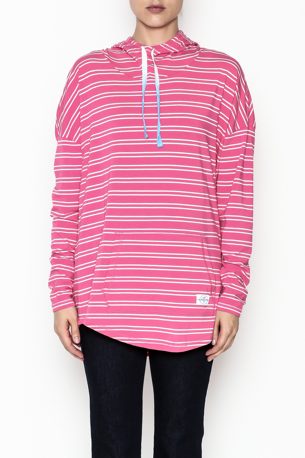 Southern Tide Skipper Pink Stripe Hoodie - Front Full Image