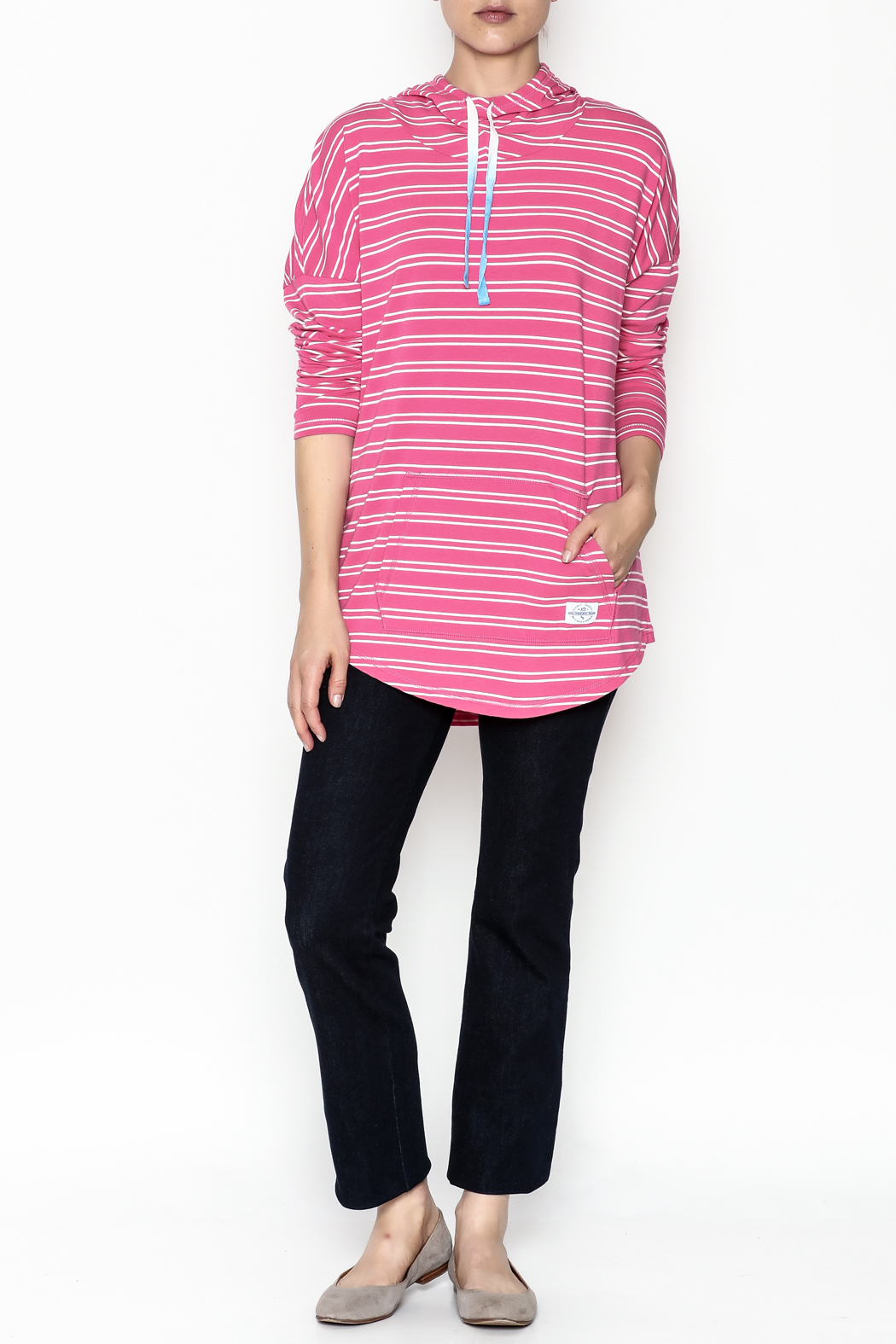 Southern Tide Skipper Pink Stripe Hoodie - Side Cropped Image