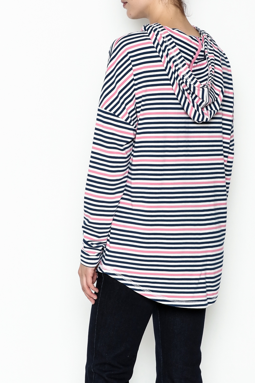 Southern Tide Stripe Skipper Hoodie - Back Cropped Image