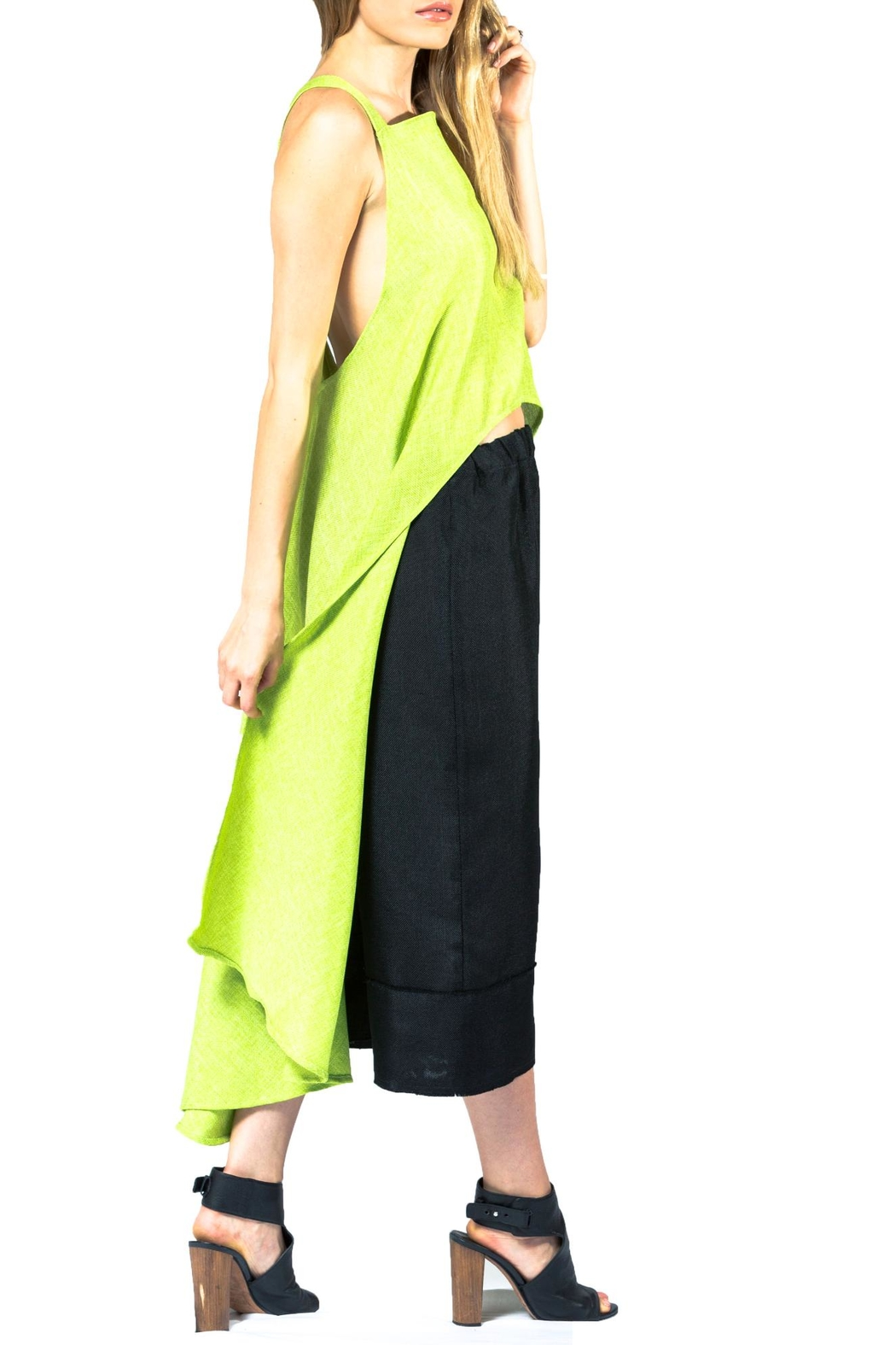 Sova Lime Crisscross Tunic - Back Cropped Image