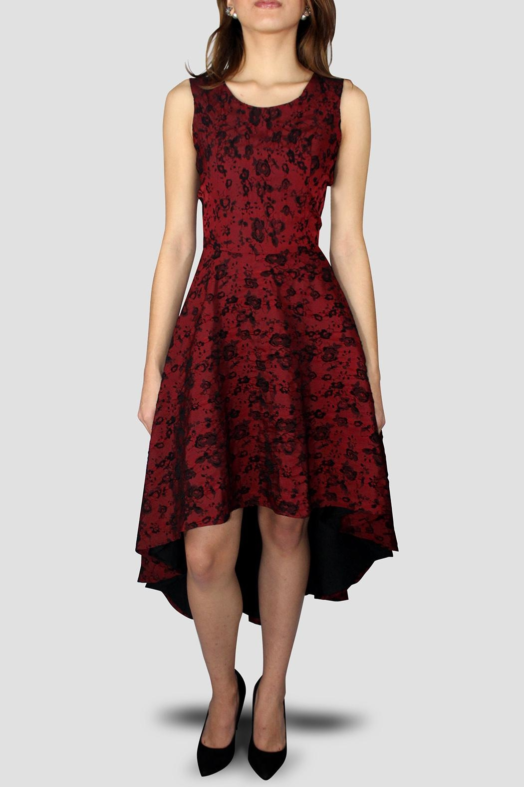 SoZu Asymmetric Brocade Dress - Front Cropped Image