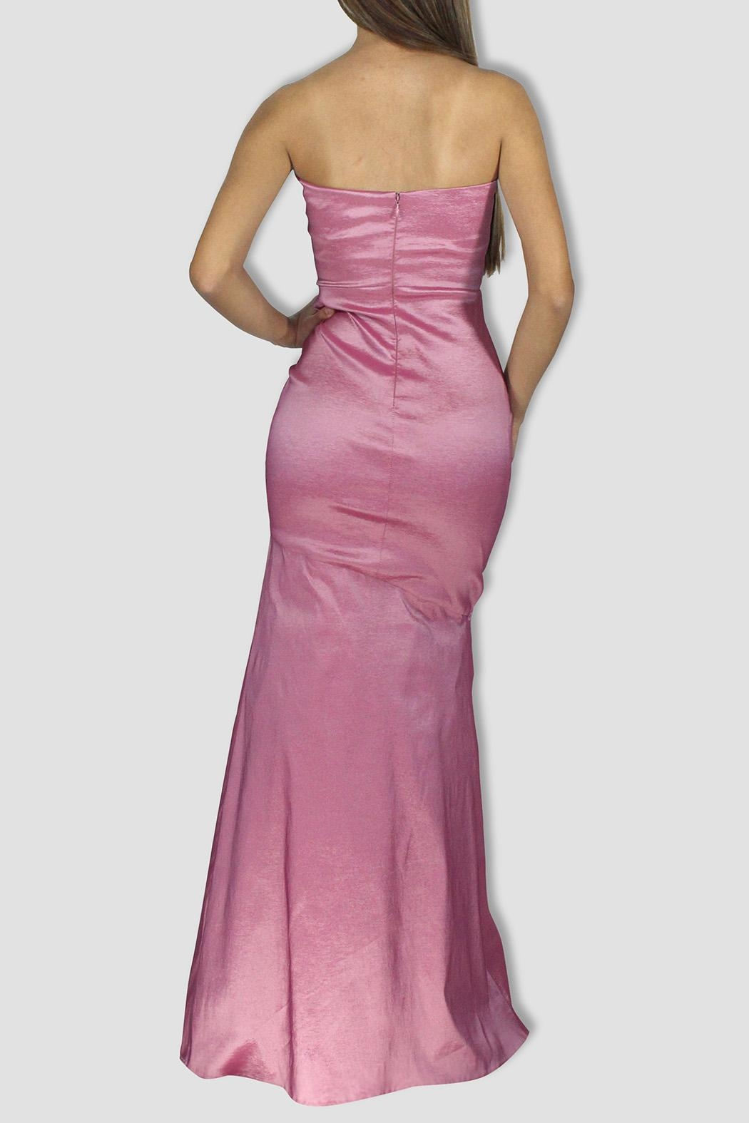 SoZu Draped Strapless Dress - Side Cropped Image