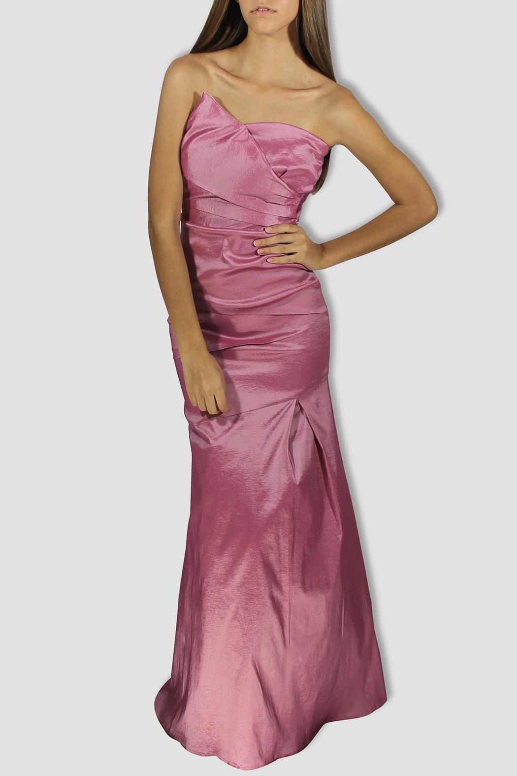 SoZu Draped Strapless Dress - Front Cropped Image