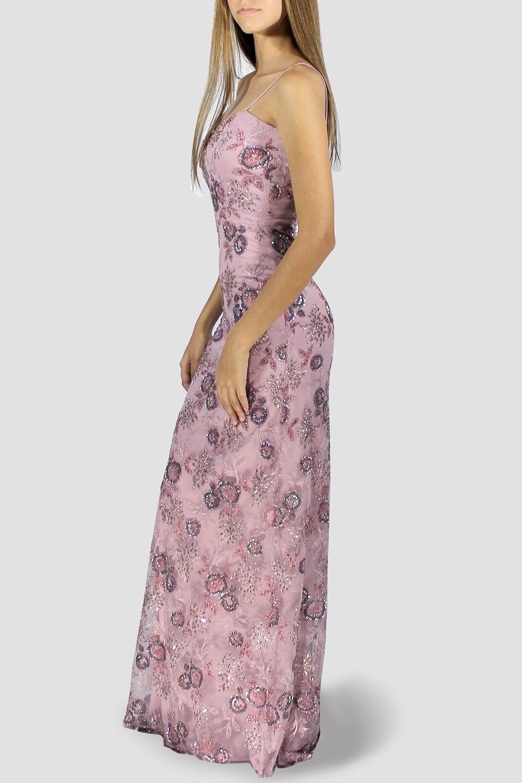 SoZu Periwinkle Floral Lace Dress - Front Full Image