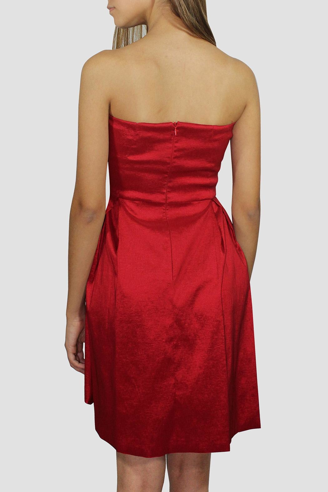 SoZu Red Strapless Dress - Side Cropped Image
