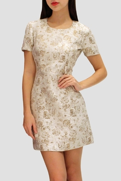 SoZu Sleeves Brocade Dress - Alternate List Image