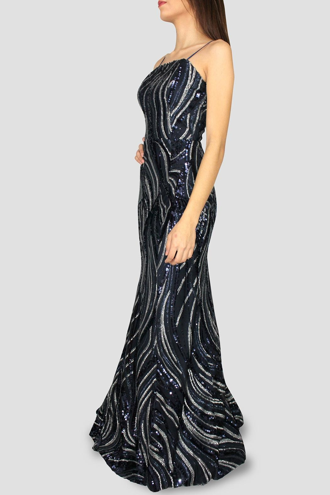 SoZu Strapless Lineal Sequin - Front Full Image