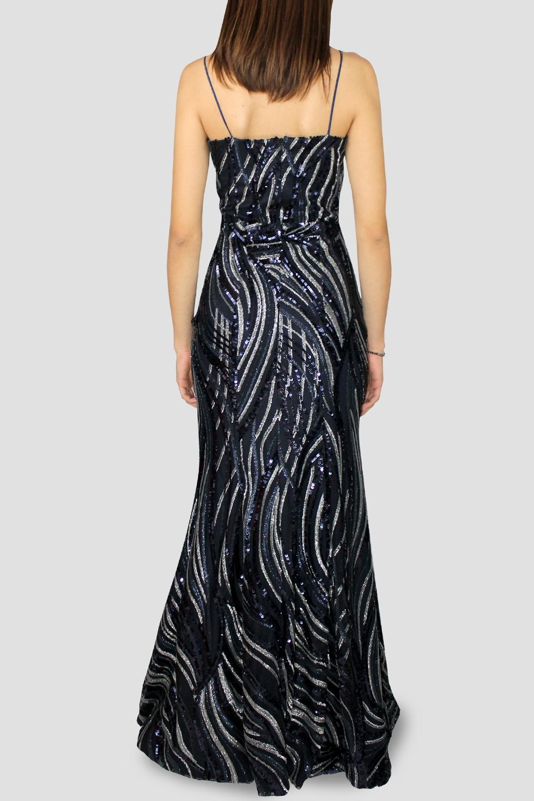 SoZu Strapless Lineal Sequin - Side Cropped Image